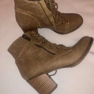 Madden Girl Tan Leather Ankle Boots (Women's)